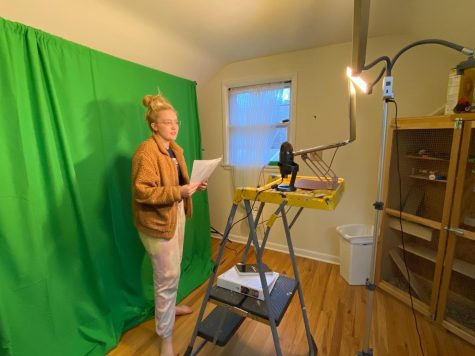 "Ana Morgan participates in a Community Ensemble Theater (CET) rehearsal for Working. Morgan has enjoyed staying a part of CET through the difficulties this year has brought. ""My filming setup is in my room that I share with my chinchilla, Mochi. I like to think of her as my scene partner although I'm not sure she agrees."""