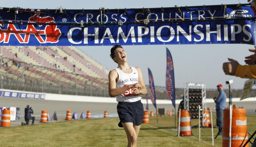 """Hobbs Kessler finished in sixth place in the state cross country race during his junior year. But after deciding to focus on running, Kessler ultimately ran a sub-four mile at the American Track League meet in Fayetteville, Ark. on Feb. 7, 2021. """"Right before the race, I was really nervous,"""" Kessler said. """"But it all went away. Once the gun went off, I was totally clear-minded, poised and present."""""""